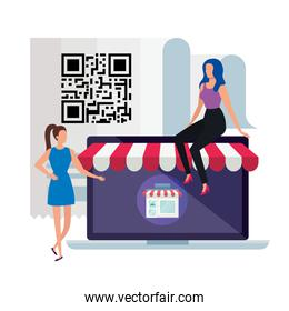 business women with code qr and laptop