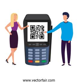 businesss couple and dataphone with scan code qr