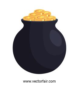 coins with clovers in pot  cauldron