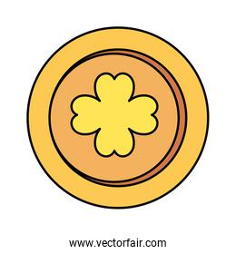 coin with clover isolated icon