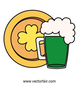 coin with clover and jar beer