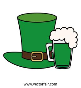 top hat leprechaun with beer jar isolated icon
