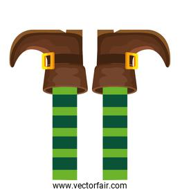 leprechaun legs with boots isolated icon