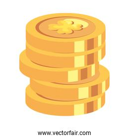stack of coins with clovers isolated icons