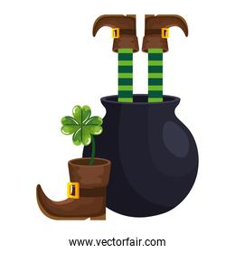 leprechaun legs with in cauldron and clover