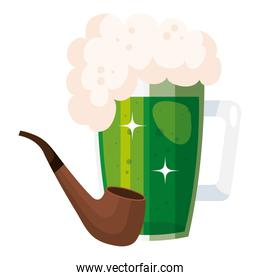 beer jar with pipe smoking isolated icon