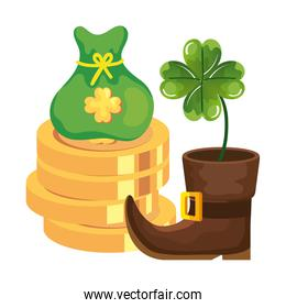 coin with clover and icons leprechaun