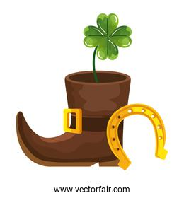 leprechaun boot with clover and horseshoe