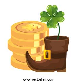 coin with clover and boot leprechaun