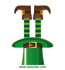 leprechaun legs with boots in top hat