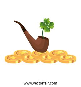 coin with clover with smoking pipe