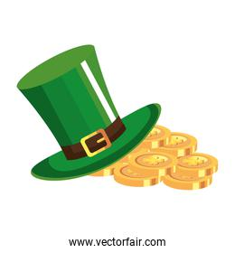 top hat and coins with clover