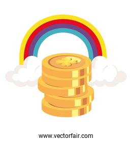 coin with clover and rainbow isolated icon