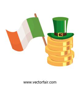 top hat and coins and flag ireland