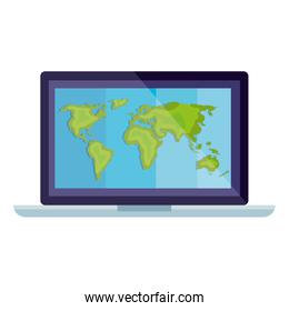 Isolated world map inside laptop vector design