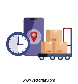 boxes over cart gos mark clock and smartphone vector design
