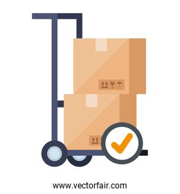 boxes over cart and check mark vector design