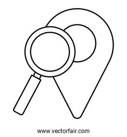 Isolated gps mark and lupe vector design