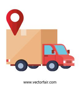 Isolated delivery truck and gps mark vector design