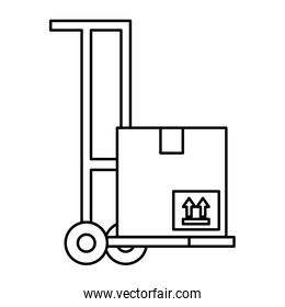 Isolated delivery box over cart vector design