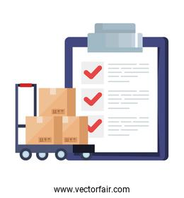 boxes over cart and list document vector design