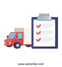 Isolated delivery truck and list document vector design