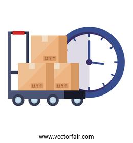 boxes over cart and clock vector design
