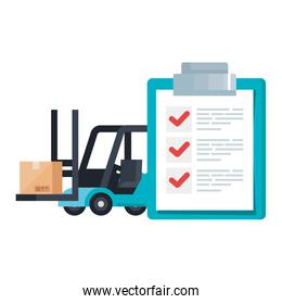 Isolated delivery forklift box and list document vector design