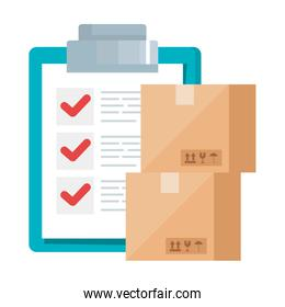 delivery boxes and list document vector design