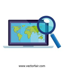 Isolated lupe and world map inside laptop vector design