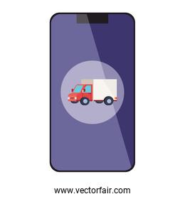 Isolated delivery truck inside smartphone vector design