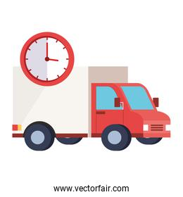 Isolated delivery truck and clock vector design
