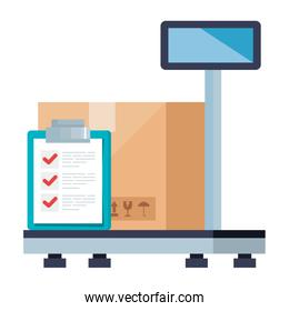 Isolated delivery box over scale and document vector design