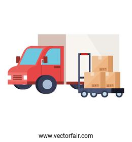 boxes over cart and truck vector design