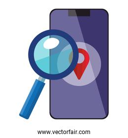 Isolated gps mark inside smartphone and lupe vector design
