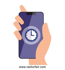 Isolated clock inside smartphone vector design