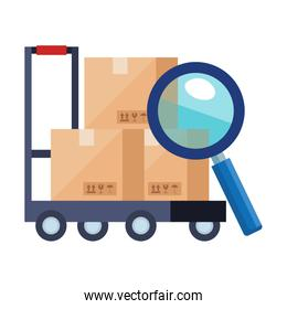boxes over cart and lupe vector design