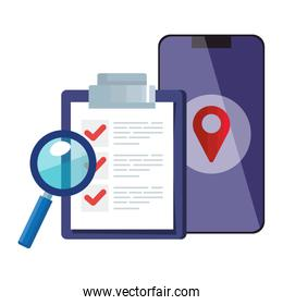 Isolated list document smartphone and lupe vector design