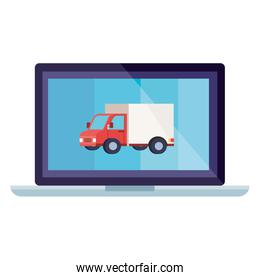 Isolated delivery truck inside laptop vector design