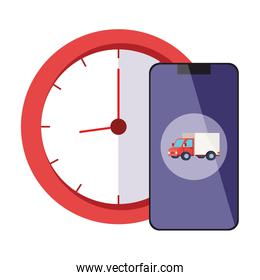 Isolated delivery truck inside smartphone and clock vector design