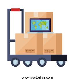 boxes over cart and laptop vector design