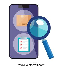 Isolated delivery box list document inside smartphone and lupe vector design