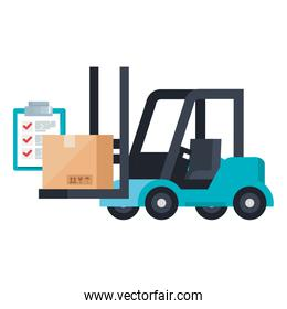Isolated delivery forklift box and list document vector illustration