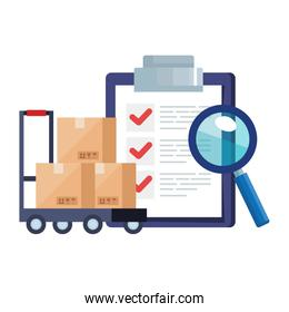 boxes over cart lupe and list document vector design