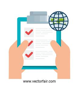 Isolated list document and global lupe vector design