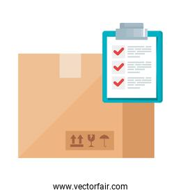 Isolated delivery box and list document vector design