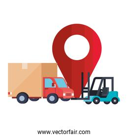 Isolated delivery truck forklift and gps mark vector design