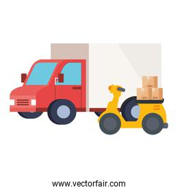 Isolated delivery truck and motorcycle vector design