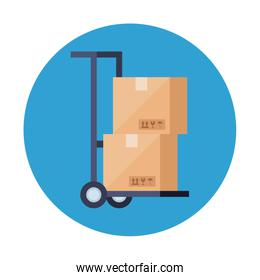 delivery boxes over cart vector design