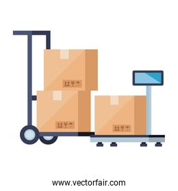 boxes over cart and scale vector design
